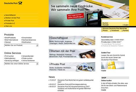Landingpage-Optimierung: Startseite Post.de vor Relaunch