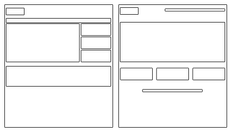 Grobe Skizzierung des Layouts: Mexx (links), Shoeguru (rechts)