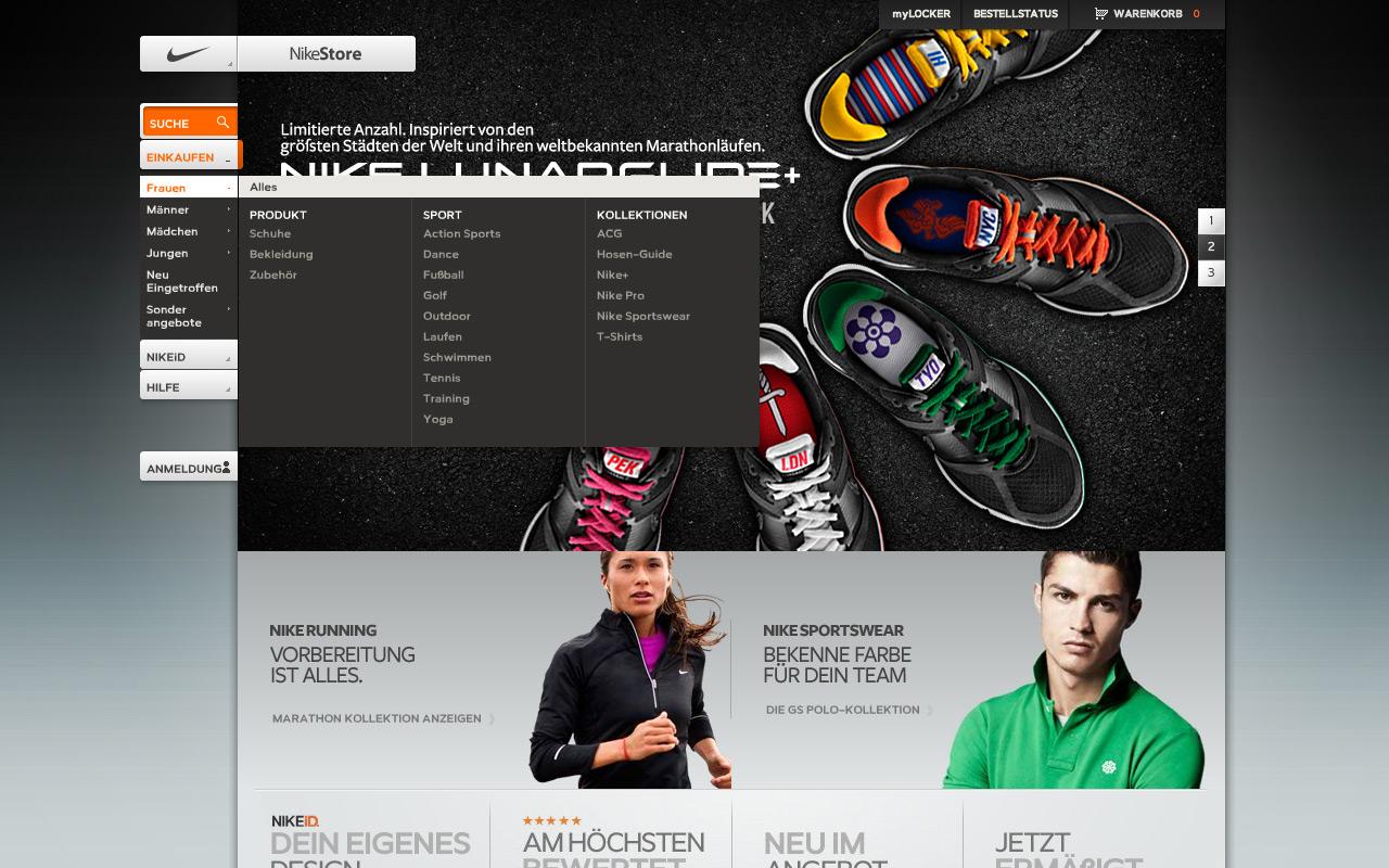 Beispiel für Flyout (Nike)