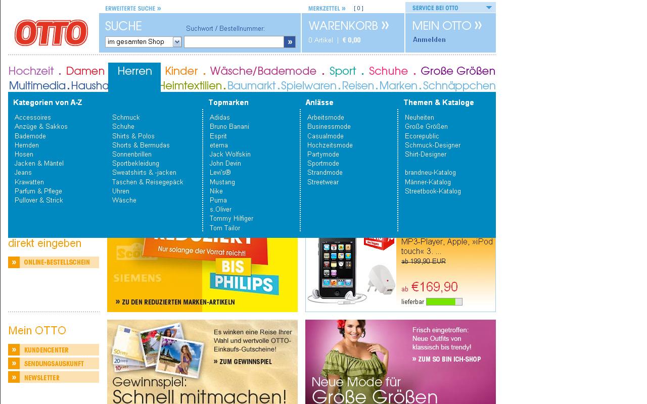 Beispiel für Vergleichsmöglichkeiten (Otto.de)