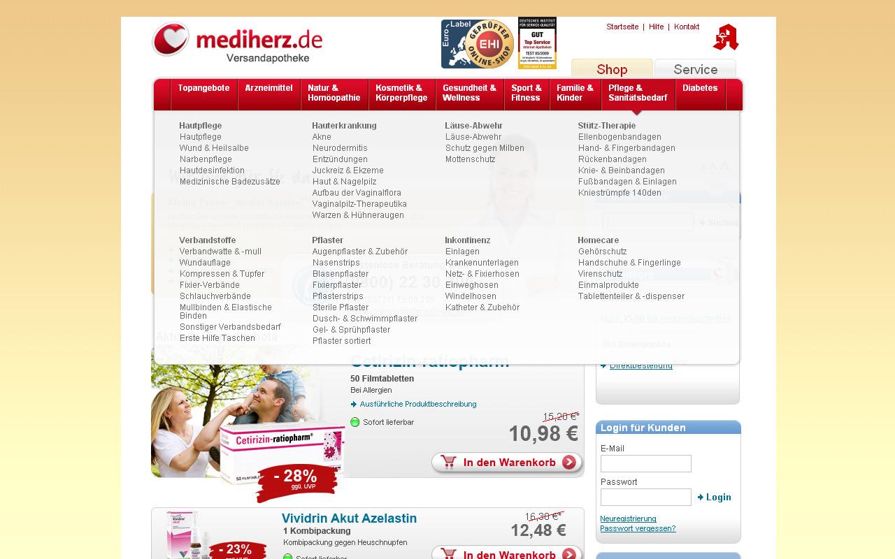 Beispiel für Gruppierung (Mediherz.de)