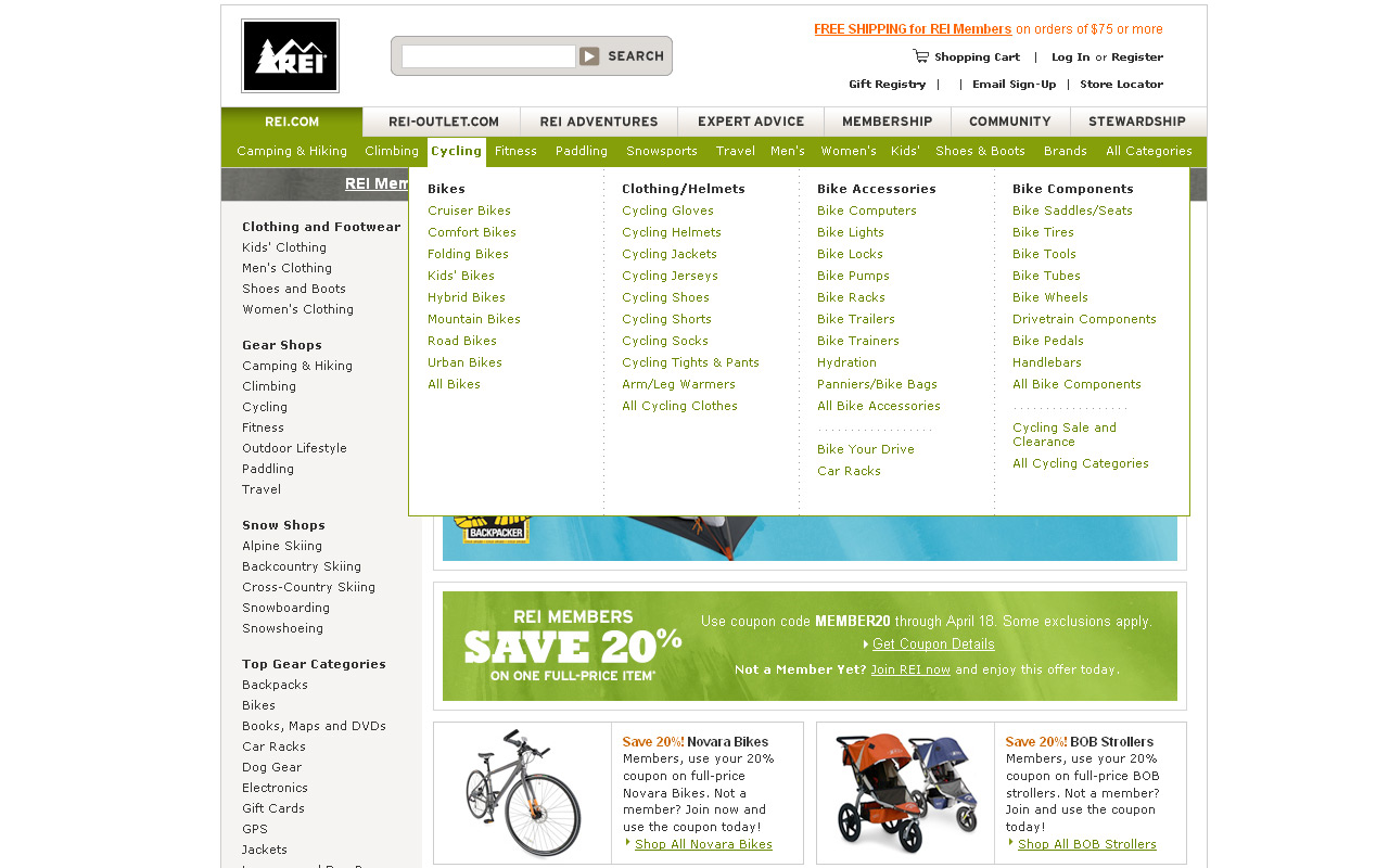 Beispiel für klare Trennung der Inhalte (Rei.com)