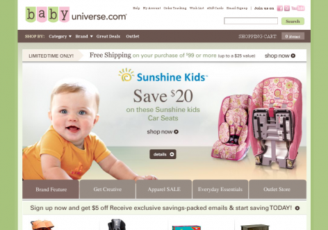 baby universe - inspirierende E-Commerce Designs