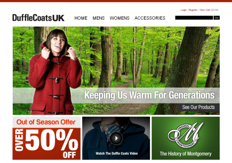 DuffleCoatsUK - inspirierende E-Commerce Designs