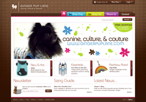 Ginger Pup Lane - inspirierende E-Commerce Designs