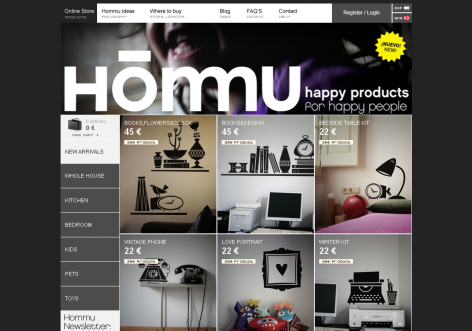 Hommu - inspirierende E-Commerce Designs