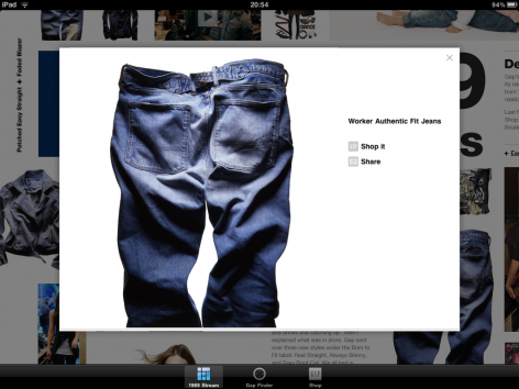 Gap iPad Shopping App Produkt