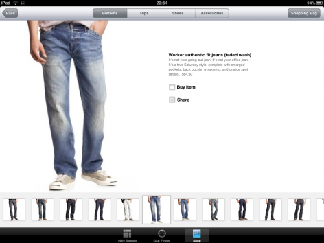 Gap iPad Shopping App Kategorieseite