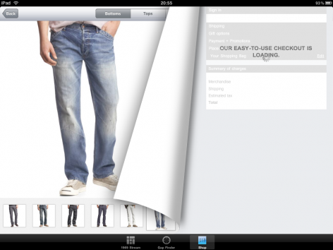 Gap iPad Shopping App Loading