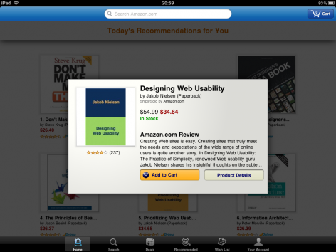 Amazon iPad Shopping App Produktseite