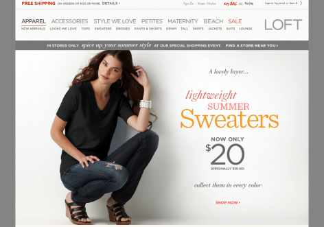 Loft - inspirierende E-Commerce Designs