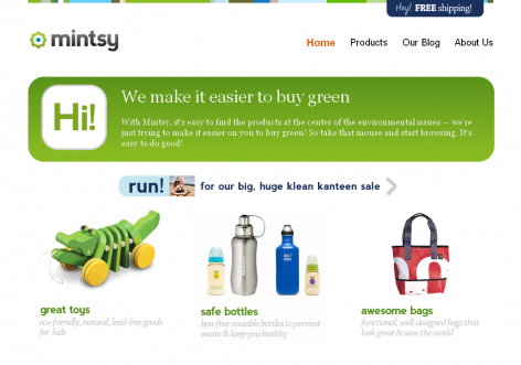 Mintsy - inspirierende E-Commerce Designs