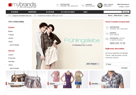 mybrands - inspirierende E-Commerce Designs