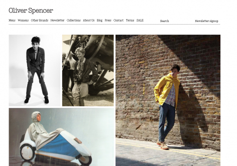 Oliver Spencer - inspirierende E-Commerce Designs