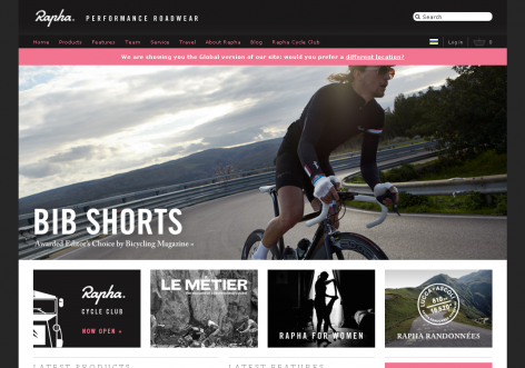 Rapha - inspirierende E-Commerce Designs