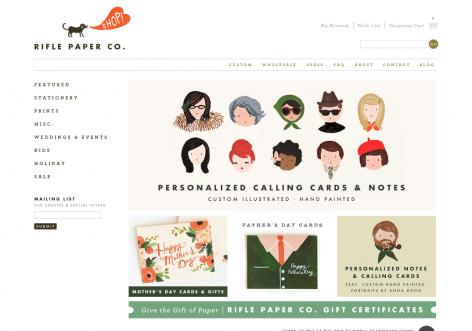 Rifle Paper Co - inspirierende E-Commerce Designs