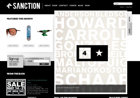 Sanction - inspirierende E-Commerce Designs