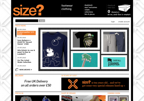 size? - inspirierende E-Commerce Designs
