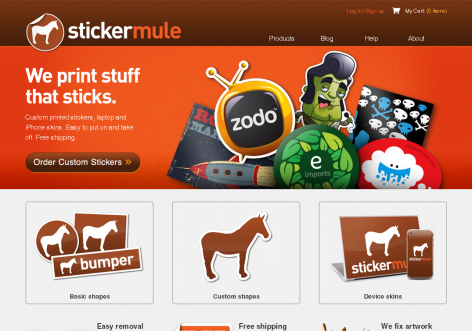stickermule - inspirierende E-Commerce Designs