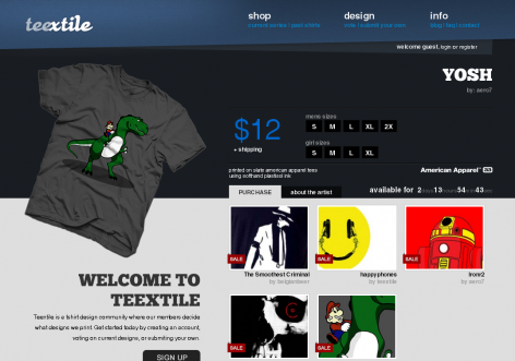 Teextile - inspirierende E-Commerce Designs