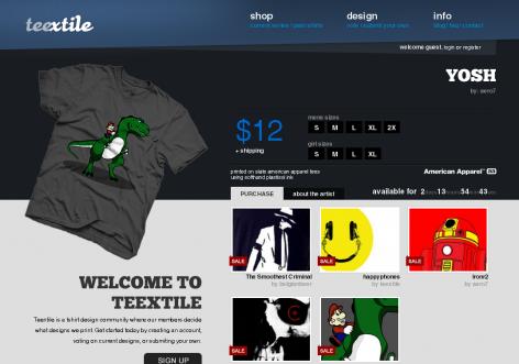 Teextile - inspirierende E-Commerce Designs