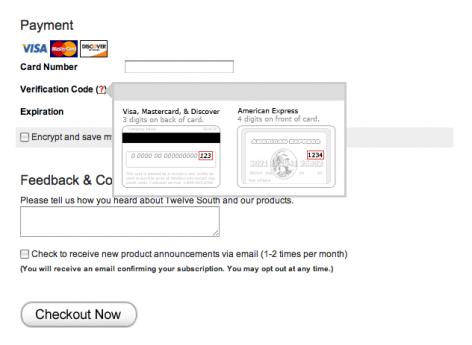 twelvesouth.com liefert per Mouseover Hilfestellung, wo sich der Sicherheitscode einer Kreditkarte befindet