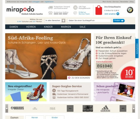 mirapodo Startseite - Flat Design
