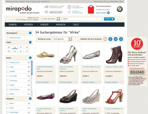 mirapodo Kategorie - Flat Design