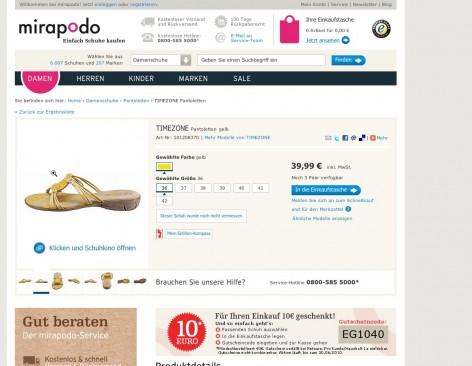mirapodo Produktseite - Flat Design