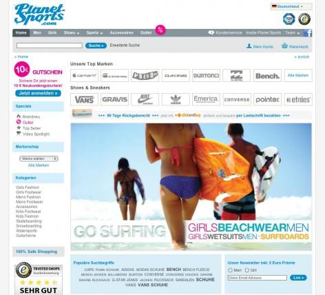 planet-sports Startseite - Flat Design
