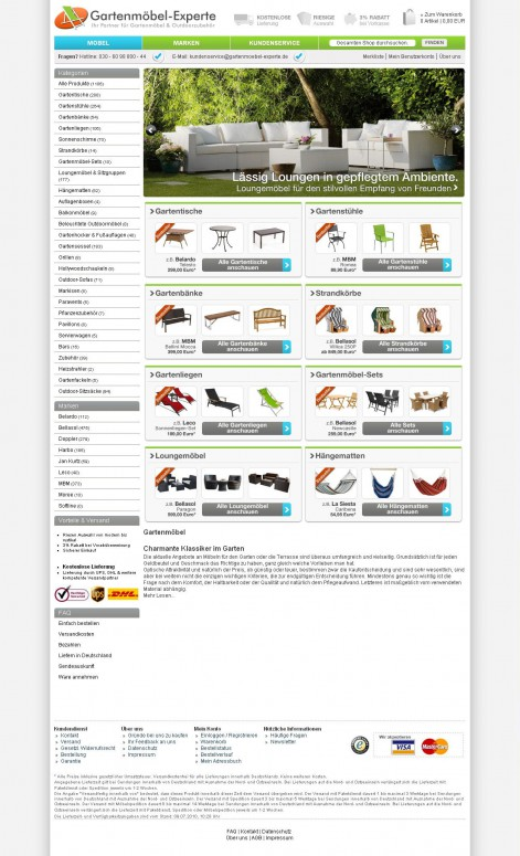 Gartenmöbel Experte - Showcase Magento Shop Design