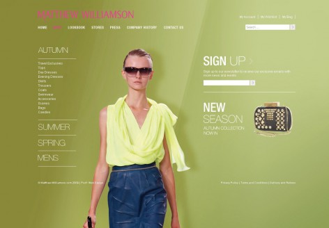 Matthew Williamson - Showcase Magento Shop Design
