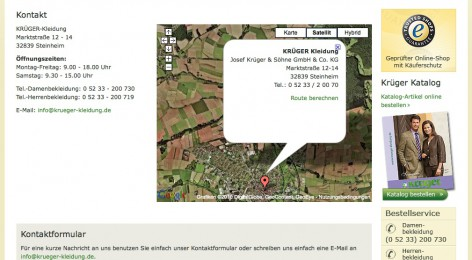 Kontaktinformationen bei krüger-kleidung.de