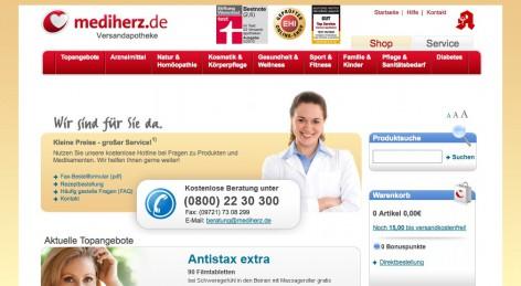 Siegel im Kopfbereich von mediherz.de