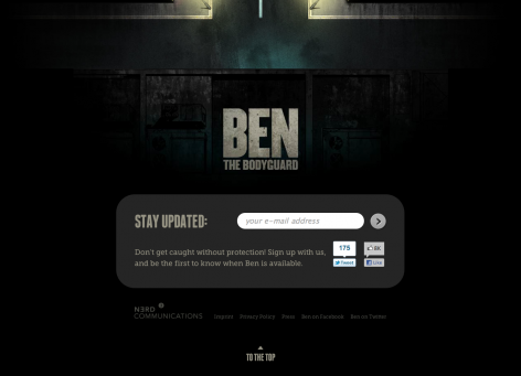 Landingpage iphone App Newsletter - Ben the Bodyguard
