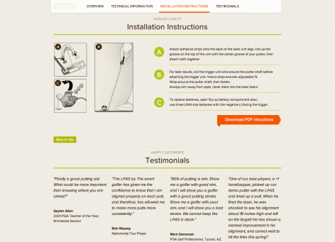Landingpage Informationen - The Smart Golfer