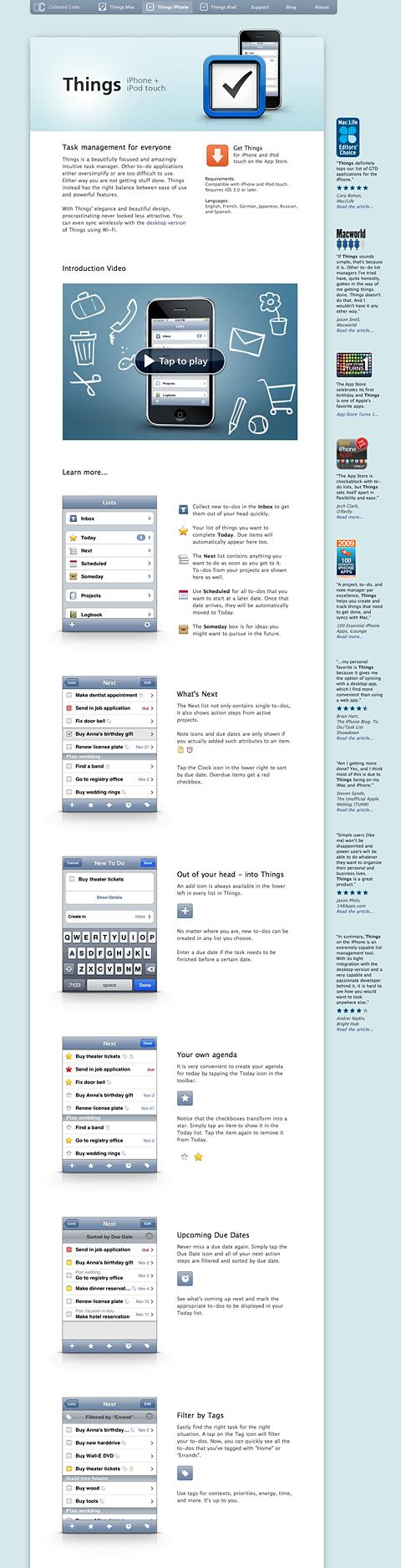 Landingpage iPhone App Things