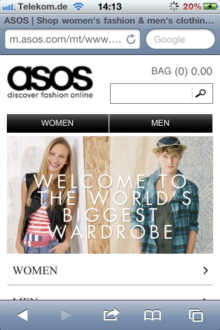 eCommerce Design Trends Asos mobile shop