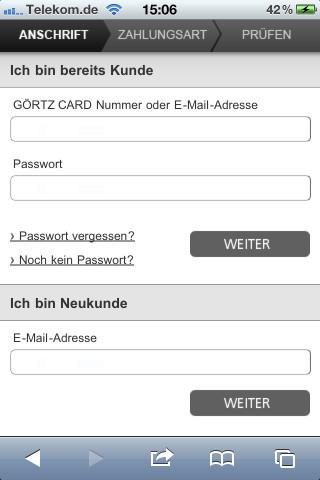 Checkout Görtz Mobile-Shop