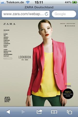 Keine optimierte Darstellung für den Mobile-Shop von Zara