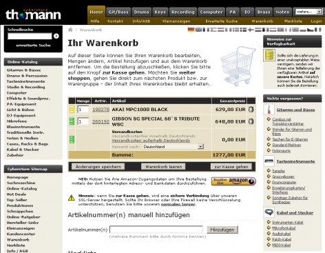 Amazon Checkout - thomann Warenkorb
