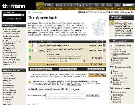 Amazon Checkout - thomann Warenkorb