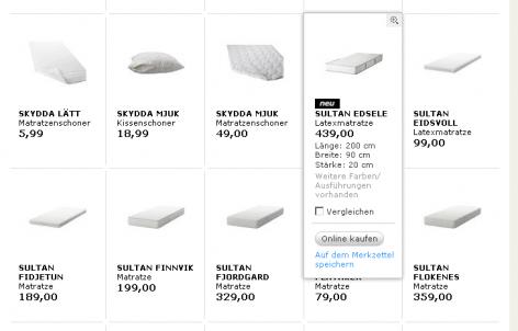Matratzenanbieter IKEA Mouse Over