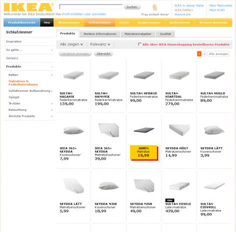 Matratzenanbieter IKEA Produktliste LPO