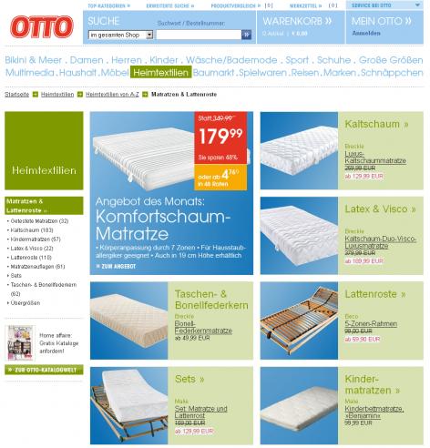 Matratzenanbieter Otto Landing Page
