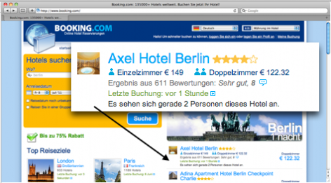 Verknappung im E-Commerce - Booking.com