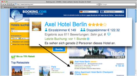 Verknappung im E-Commerce - Booking.com