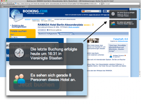 Verknappung im E-Commerce - Booking.com Buchung