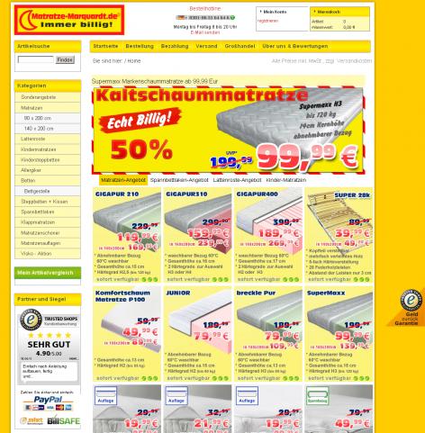 Matratzenanbieter Matratzen Marquardt Landing Page