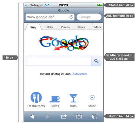 iPhone Layout des Safari Browsers